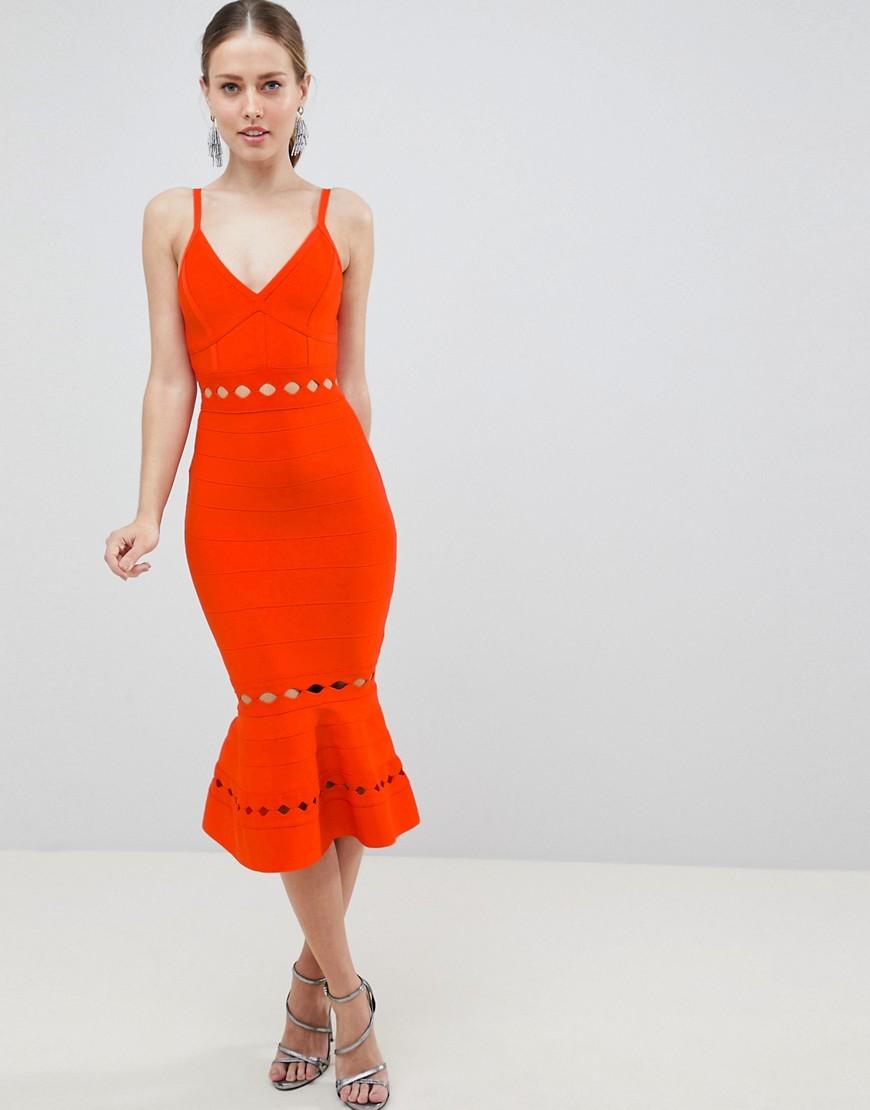 ASOS | Красный Бандажное премиум-платье миди с оборкой и вырезами ASOS DESIGN | Clouty