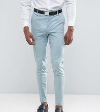 ASOS   Голубые эластичные хлопковые брюки скинни ASOS TALL Wedding - Синий   Clouty