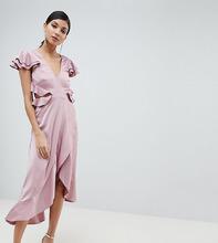ASOS   Платье миди с оборками и вырезом на спине ASOS DESIGN Tall - Розовый   Clouty