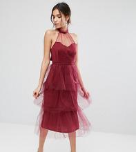 True Violet | Ярусное платье миди из тюля True Violet - Красный | Clouty