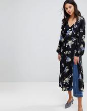 Gestuz | Платье-кимоно с запахом и цветочным принтом Gestuz - Мульти | Clouty