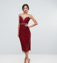 ASOS   Кружевное платье-футляр миди на бретельках ASOS TALL - Красный   Clouty