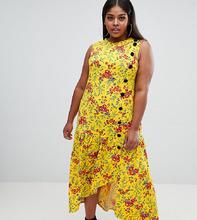 ASOS | Чайное платье макси с цветочным принтом и контрастными пуговицами ASOS DESIGN Curve - Мульти | Clouty