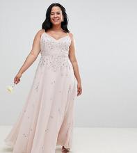 ASOS | Платье макси с отделкой ASOS DESIGN Curve bridesmaids - Розовый | Clouty