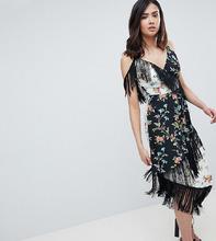 ASOS   Платье миди с бахромой и комбинированным цветочным принтом ASOS DESIGN Tall - Мульти   Clouty