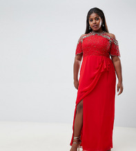 Virgos Lounge | Красное платье макси с отделкой, открытыми плечами и запахом Virgos Lounge Plus - Красный | Clouty