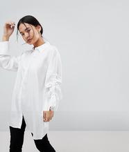 Noisy May | Oversize-рубашка с регулируемой длиной рукавов Noisy May - Белый | Clouty