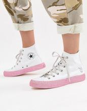 CONVERSE | Белые высокие кроссовки с блестящей отделкой Converse X Miley Cyrus Chuck Taylor All Star - Белый | Clouty