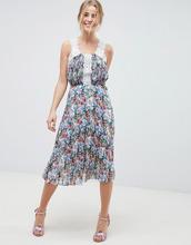 ASOS | Плиссированное платье миди с ярким цветочным принтом и кружевом ASOS D | Clouty