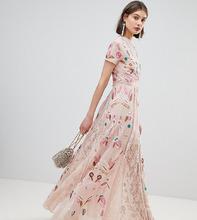 Frock And Frill | Платье макси с глубоким вырезом и сплошной вышивкой Frock and Frill | Clouty