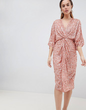 ASOS | Платье-кимоно миди с пайетками ASOS DESIGN - Медный | Clouty