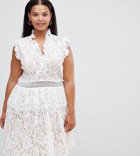 Alice & You   Короткое приталенное платье с кружевной отделкой Alice & You Plus - Белый   Clouty