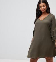 Lovedrobe | Свободное платье с плиссированными оборками на рукавах Lovedrobe - Зеленый | Clouty