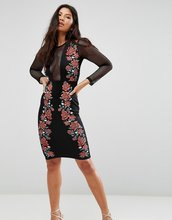 Club L | Облегающее платье с сетчатыми вставками Club L - Черный | Clouty