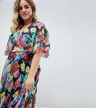 ASOS | Платье миди с плиссированной юбкой, расклешенными рукавами и цветочным принтом ASOS DESIGN Curve - Мульти | Clouty