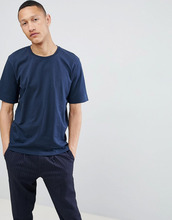Selected Homme   Хлопковая футболка с заниженной линией плеч Selected Homme - Темно-синий   Clouty