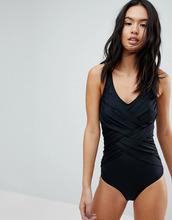 Pour Moi | Моделирующий слитный купальник с V-образным вырезом и присборенной отд | Clouty
