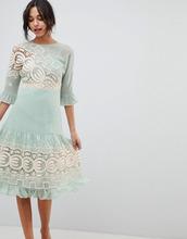 ASOS | Платье миди со вставкой кроше ASOS DESIGN Premium - Зеленый | Clouty