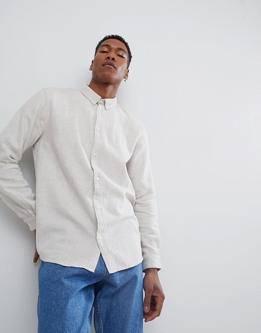 8b1d523d347 Двухцветная рубашка Weekday Seattle - Бежевый CL000020341771