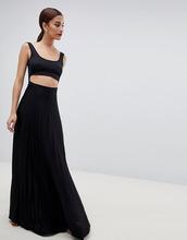 ASOS | Платье макси с плиссировкой и кроп-топом ASOS DESIGN - Черный | Clouty