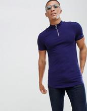 ASOS | Синяя облегающая удлиненная футболка с молнией, высоким воротом и асимметричным краем ASOS DESIGN - Синий | Clouty