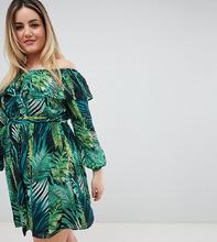 Lovedrobe | Платье со спущенными плечами и тропическим принтом Lovedrobe - Мульти | Clouty