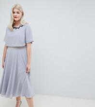 ASOS   Приталенное платье миди ASOS DESIGN Curve - Мульти   Clouty