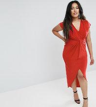 Club L | Платье миди с короткими рукавами и узелком Club L Plus - Красный | Clouty