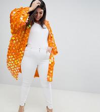 ASOS | Кимоно с пайетками ASOS DESIGN Curve - Оранжевый | Clouty