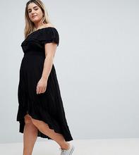 River Island | Платье макси с оборкой River Island Plus - Черный | Clouty
