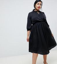 River Island | Черное платье с запахом и завязкой River Island Plus - Черный | Clouty