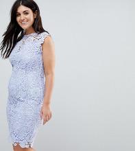 Paper Dolls | Кружевное платье миди с высоким воротом Paper Dolls Plus - Синий | Clouty