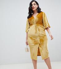 ASOS | Бархатное облегающее платье с рукавами-кимоно ASOS DESIGN Curve - Розовый | Clouty