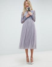 ASOS | Платье миди с вышивкой ASOS DESIGN - Синий | Clouty