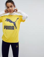 Puma | Футболка горчичного цвета с логотипом Puma Classics - Желтый | Clouty