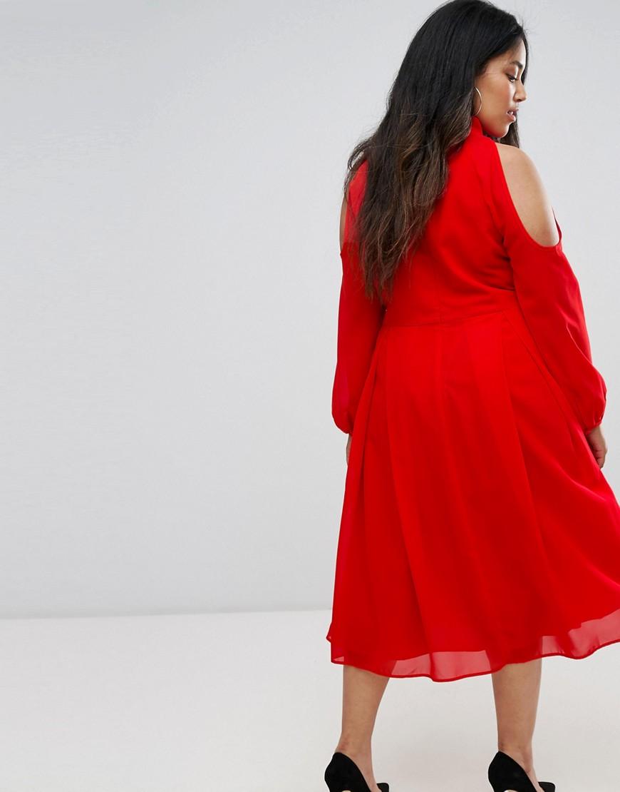 truly you   Платье миди с длинными рукавами и вырезом на груди и плечах Truly You - Красный   Clouty