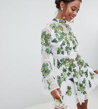 ASOS | Короткое приталенное платье с цветочной вышивкой и отделкой ASOS EDITI | Clouty