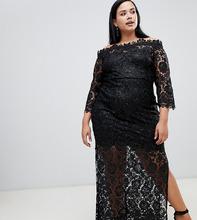 Paper Dolls | Черное кружевное платье макси со спущенными плечами и отделкой пайетками Paper Dolls Plus - Черный | Clouty