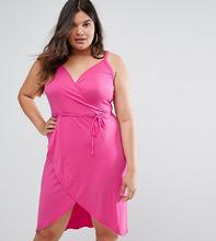 Club L | Платье с запахом и принтом Club L Plus - Розовый | Clouty