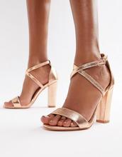 Glamorous | Розово-золотистые босоножки металлик на блочном каблуке Glamorous | Clouty