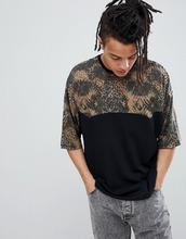 ASOS | Oversize-футболка со вставками с леопардовым принтом ASOS DESIGN - Черный | Clouty