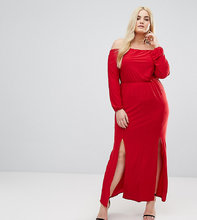 Club L   Платье макси со спущенными плечами и разрезом Club L Plus - Красный   Clouty