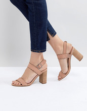 Dūnē/Minimum | Розовые кожаные босоножки на блочном каблуке Dune - Розовый | Clouty