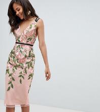 ASOS | Платье-футляр миди с цветочной вышивкой ASOS DESIGN Tall - Мульти | Clouty