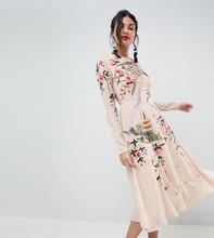 ASOS | Платье миди с цветочным принтом и вышивкой птиц ASOS TALL - Розовый | Clouty