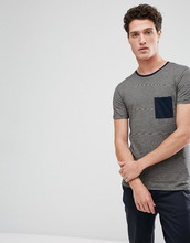 Selected Homme | Футболка в полоску с контрастным карманом Selected Homme - Темно-синий | Clouty