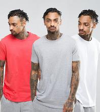 ASOS   Набор из 3 длинных футболок (красный/белый/серый меланж) ASOS - СКИДКА   Clouty