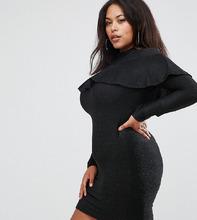 Club L   Черное платье с оборкой и длинными рукавами Club L Plus - Черный   Clouty