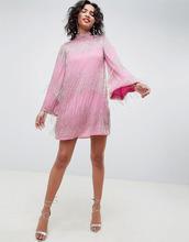 ASOS | Платье мини с бахромой и расклешенными рукавами ASOS EDITION - Розовый | Clouty
