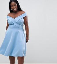 Club L   Короткое приталенное платье для выпускного Club L Plus - Синий   Clouty